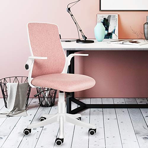 ELECWISH Office Chair Mid Back Ergonomic Desk Chair Office Computer Swivel Adjustable Rolling Study Chair Task Chair with Flip up Armrests, Pink