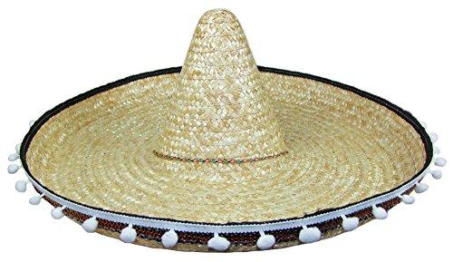 Mexikaner Sombrero mit Troddeln - 60 cm Durchmesser - Natur - Toller Mexiko Hut für Erwachsene zum Kostüm