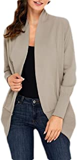 Womens Casual Solid Knit Open Front Long Sleeve Cardigan Sweater
