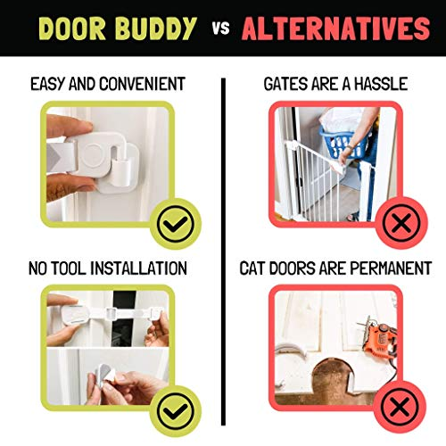 Door Buddy Baby Proof Door Lock with Adjustable Strap (Grey). No Need for Baby Gate. Child Proof Room with Litter Box While Cats Enter Easily. Installs in Seconds and is Simple and Convenient to Use.