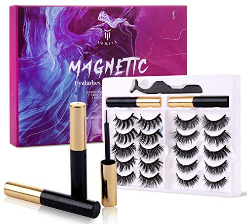 Magnetic Eyelashes with Eyeliner Kit, 10 Pairs in Different Design Natural Look False lashes, Glue Free, Easy to Use and Reusable, Makeup Set
