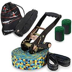 ALPIDEX Slackline Set 15 m + Tree protection and ratchet protection, geschikt voor kinderen, beginners en gevorderden*