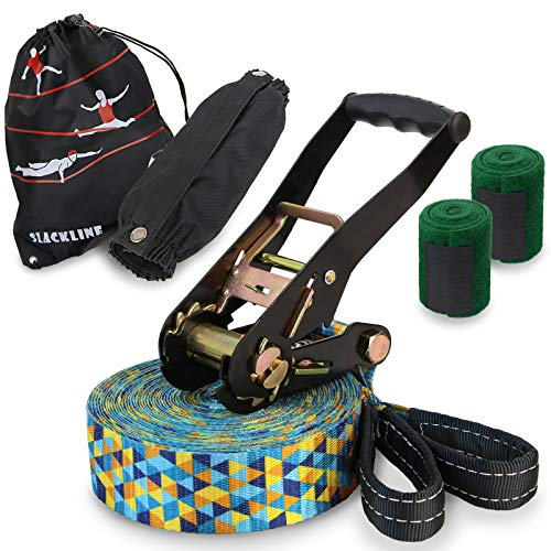 ALPIDEX Slackline Set 15 m + Baumschutz und Ratschenschutz, geeignet für Kinder, Anfänger und Fortgeschrittene