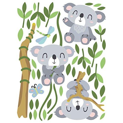 Bilderwelten Wandtattoo Kinderzimmer Tiere Koala Bären Baum Set, 80cm x 60cm