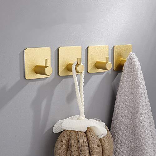 LACKINGON Haken Selbstklebende 4 Stück golden Handtuchhalter Wandhaken ohne Bohren Klebehaken Selbstklebend aus Edelstahl, rostfrei, Wasserdicht, super Tragfähigkeit