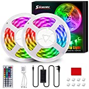 LED Strip Lights 10M, SOLMORE LED Rope Lights 5Mx2, Multicolor Mood Lights with 300 LEDs, IP65 Waterproof, DIY with Remote Control, LED Strips for Room Ceiling Indoors/Outdoors Christmas Decoration