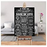 Back In 1970 50th Birthday Party Poster Sign Size 24x18, 36x24 and 48x36, Chalkboard Fifty Birthday Party Decorations, 50th Chalkboard Sign, 50th Birthday Photo Backdrop
