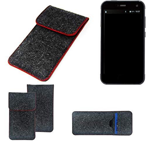 K-S-Trade Handy Schutz Hülle Für Cyrus CS 28 Schutzhülle Handyhülle Filztasche Pouch Tasche Hülle Sleeve Filzhülle Dunkelgrau Roter Rand