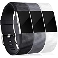 INF - Brazalete para Fitbit Charge 2 (3 Unidades), Color Negro, Gris y Blanco