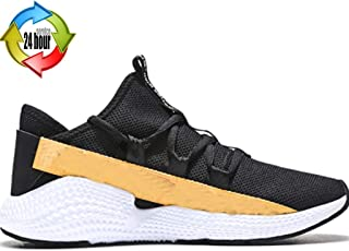 Loafer Flats Cricket Shoes Spring Men's Casual Shoes Mesh Breathable Running Shoes Shopping Stitching Fashion Sneakers (Color : Yellow, Size : 7.5)