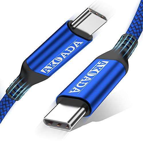 AkoaDa Cable USB-C a USB-C de 100W de 3M,cable de carga rápida trenzado USB C compatible con MacBook Pro2020/2019/2018,iPad Pro 2020/2019/2018,Samsung Galaxy Note 20,Pixelbook y laptops tipoC,(azul)