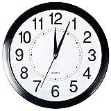 Reloj de pared Bekith, redondo de 29 cm, de cuarzo, silencioso, negro, 1 por caja