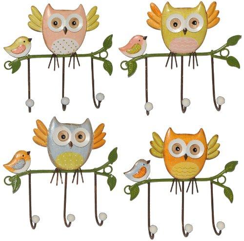 alles-meine.de GmbH 4 Stück: Garderobenhaken Eulen aus Metall - Wandhaken Kindergarderobe mit 3 Kleiderhaken Kind Wandgarderobe - für Innen und Außen - Bunte Eule Vögel Tiere