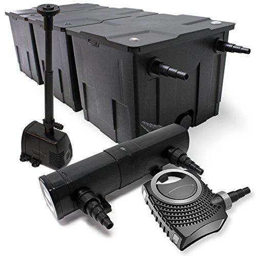 WilTec Kit de Filtration Bassin Bio 90000l Stérilisateur UVC 36W 80W Pompe éco Fontaine
