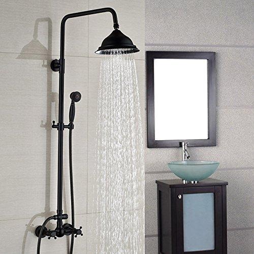 BL Kupfer und schwarz bronze Continental verstellbar Retro Dusche Dusche Regen Dusche Wasserhahn Set Orb Schwarz