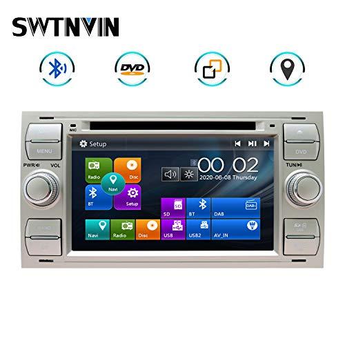 SWTNVIN Autoradio passend für Ford Focus Fusion Transit Fiesta Galaxy 7 Zoll GPS-Navigator Doppel-DIN-Haupteinheit unterstützt USB SD FM AM RDS Video Bluetooth SWC DVD CD-Player (Silber06)