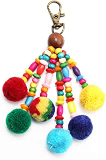 Pom Pom Beaded Tassels Keychain, Colorful Bohemian Totes Bag Pendant Key Ring Charm