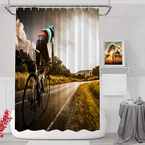 BaoNews Mountain Asian Sun Decorative Shower Curtain, Bicycle Race Cycling Biking SportDecor Shower Curtain for Shower Stall Bathroom Resistant Waterproof Standard Size 72x72 Inch