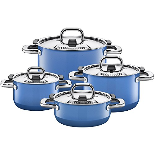 Silit Nature Blue Topfset Induktion 4-teilig, Kochtopf Set mit Metalldeckel, Silargan Funktionskeramik, Induktions Töpfe Set nickelfrei, blau