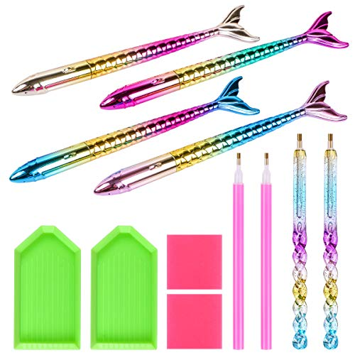 12 Pieces 5D Diamond Painting Tools, BENBO 4Pcs Mermaid Point Drill Pen, 2Pcs Spiral Nail Point Drill Pen with 2Pcs Glue Clay 2Pcs Plastic Trays for DIY Painting Accessory Nail Decorations