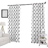 YUAZHOQI Cortinas oscurecedoras de habitación Thunderbolt Zig Zag patrón de carga eléctrica simple ilustración estilizada, cortinas personalizadas de 132 x 213 cm, negro blanco