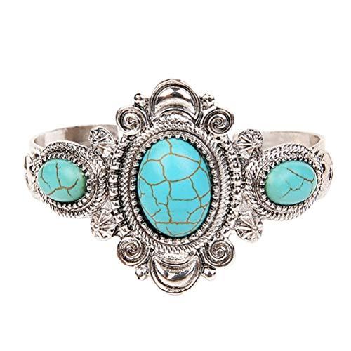 Fenical Vintage Bohemian Türkis Armband Rund Perlen Charm Offener Manschette Armreif Fashion Schmuck für Frauen (Silber)