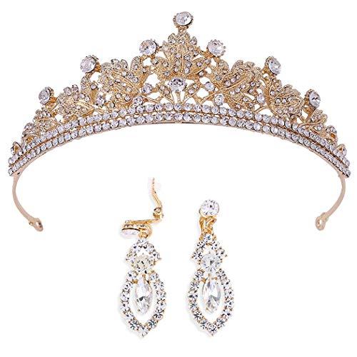 Brinote corona barroca y tiaras con pendiente de cristal vintage tocados accesorios para el cabello nupcial conjunto de joyas para mujeres y niñas (oro)