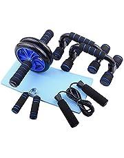 Lixada Abdominal Wheel Roller Kit Ab Press Wiel Roller met Push-UP Bar Jump Touw en Knie Pad Draagbare Spieren Oefening Apparatuur Kit voor Thuis Gym Workout Spierkracht Fitness
