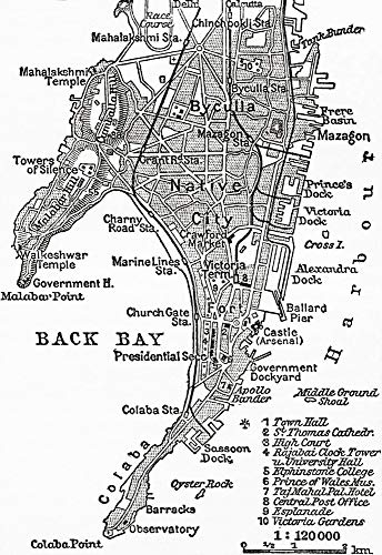 Posterazzi DPI12323843 Map of Bombay, India, C. 1920. from Meyers Lexicon, Published 1924 Photo Print, 12 x 17, Multi