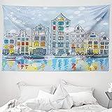 ABAKUHAUS Weihnachten Wandteppich & Tagesdecke, Amsterdam Canal Weihnachten, aus Weiches Mikrofaser Stoff Wand Dekoration Für Schlafzimmer, 230 x 140 cm, Mehrfarbig