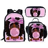Mochilas escolares primarias para niños Black Art African Girls Pattern 3PCS / Set Mochila escolar con bolsa de almuerzo y bolsa de lápices (Backpack 7)