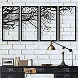 Metal Wall Art, Tree of Life 4 Pieces, Metal Tree Wall Art, Tree Sign, Metal Wall Decor, Interior Decoration, Housewarming Gift, 4 Panels Wall Hangings (69'W x 35'H / 175x88 cm)