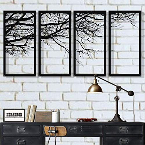 DEKADRON Arte de pared de metal, árbol de la vida, 4 piezas, arte de pared de metal, cartel de árbol, decoración de pared de metal, decoración de interiores