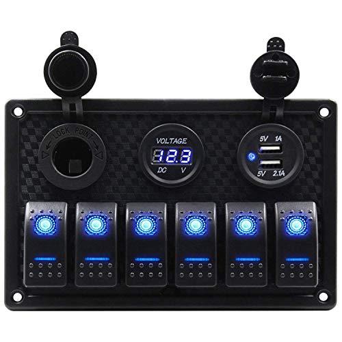 Fauge Panel de Interruptor Basculante de Barco Marino Impermeable de 6 Bandas con RetroiluminacióN LED Azul para Coche, SUV, VehíCulo Marino, CamióN, Camper, Barco