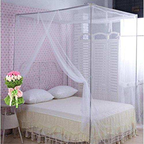 Kolylong Moustiquaire Ciel de lit étudiants Dortoir Moustiquaires 16 Secret spécial carré (150_x_200_cm, Blanc)