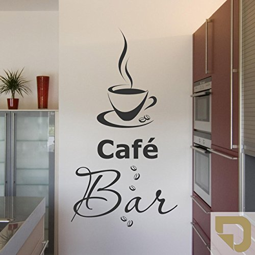 DESIGNSCAPE® Wandtattoo Café Bar mit dampfender Kaffeetasse und Kaffeebohnen 54 x 100 cm (Breite x Höhe) gold DW803088-L-F26