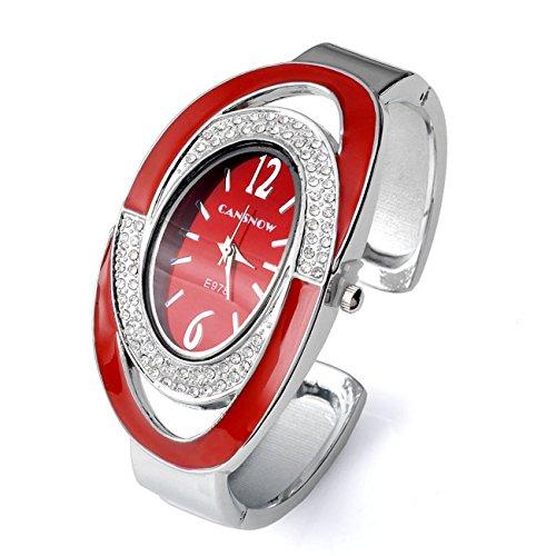 JSDDE Uhren Elegant Damen Spangenuhr Strassstein Oval Nebelfleck Zifferblatt Armbanduhr Analoge Quarzuhr Armreif Uhr Kleideruhr für Frauen Damen Rot
