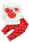 DaDa Deal Baby Girls' Toddler Kids Clothes Shirt Top Leggings Pants Outfits(60,Red), 3-6 Months