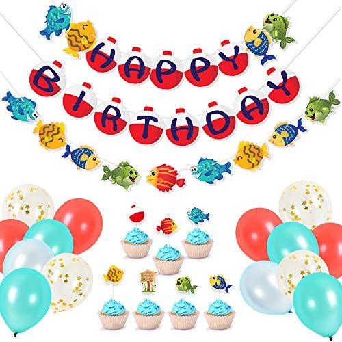 """WERNNSAI FischerGeburtstagPartyzubehör - Angeln Thema Party DekorationKitfür Jungs Einschließlich """"Happy Birthday"""" Banner LatexLuftballons Cupcake Topper 49 PCS"""
