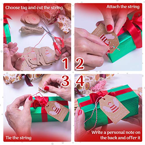 100 Pieces Set Christmas Tags with String Perfect for Labeling Your Surprises - 10 Different Designs Kraft Paper Tags with Twine Included Great for Present Wrapping, Baked Goods Tags, Price Tags Photo #6