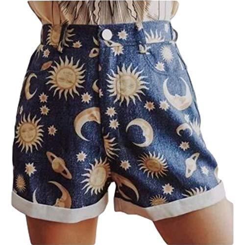 Zestion Pantalones Cortos con Personalidad para Mujer, Estampado de Moda, Ajuste Holgado, cómodo botón y Tapeta con Cremallera, Pantalones Cortos Casuales de Todo fósforo X-Large