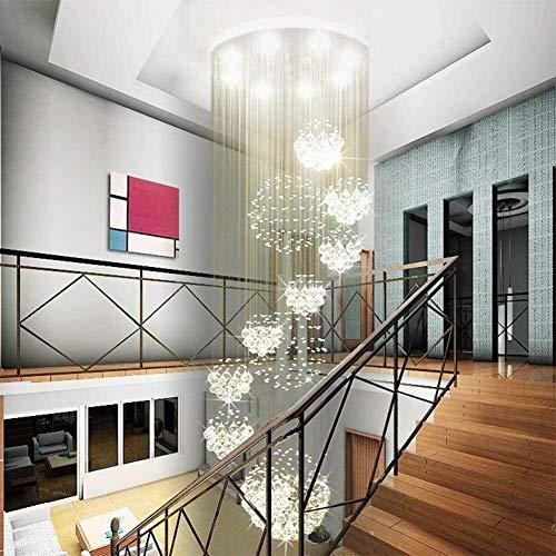 MGWA Lámpara de techo moderna en espiral con 11 esferas de lluvia, lámpara de araña de cristal grande de montaje empotrado para entrada y vestíbulo, escalera de 80 cm de ancho x 279 cm de alto.