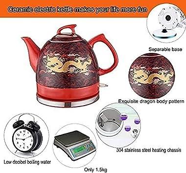 Electric Ceramic Cordless Kettle Teapot Cordless Electric Kettle, Retro Jug Kettle,360° Swivel Base Boil Dry Protection Fast