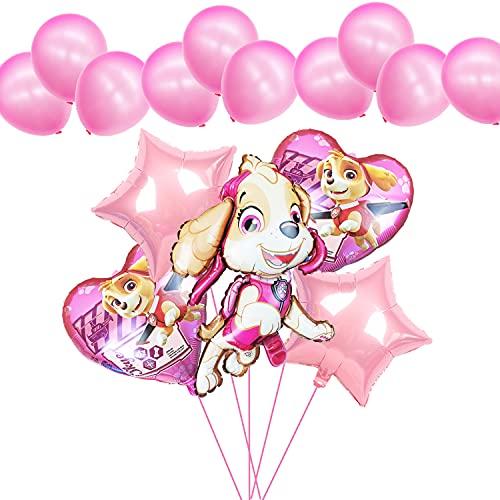 Globos de la Patrulla Canina, para cumpleaños de niños, 5 globos hinchables de aluminio con helio, gran regalo de cumpleaños para niños y niñas