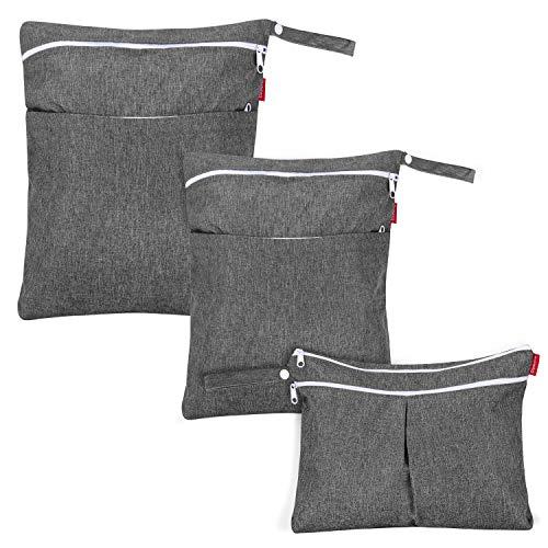 Damero 3 Pcs Wetbag für Stoffwindeln, Baby Windeltasche mit 2 Reißverschlusstaschen, Nasstasche für Babywindeln, ideal für Reisen, Strand, Pool, Sporttasche, Schwarz. (NUR MIT TASCHE), Grau