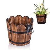 Macetas de madera con agujeros de drenaje para decoración de interiores y hogar, 3 tamaños (L)