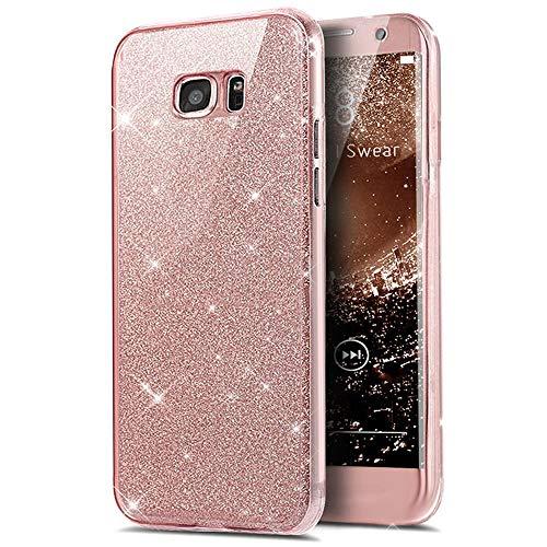 Karomenic 360 Grad Silikon Hülle kompatibel mit Samsung Galaxy A5 2016 Bling Glänzend Glitzer Fullbody Case Komplettschutz Handyhülle Vorne & Hinten Rundum Schutzhülle Bumper Case Etui,Rosa
