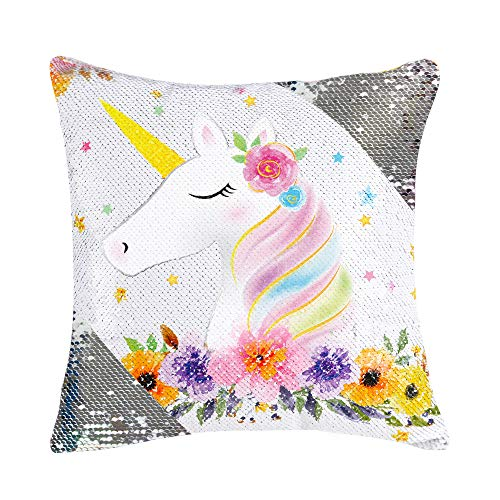WERNNSAI Glitter Sequins Unicorn Pillow Cover -40 x 40 cm Square Decorative Throw Pillow Cases Beige Suede Cushion Covers for Sofa CouchHome Bed(NO Pillow Inserts)