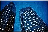 500 piezas: edificio de oficinas azul oscuro en la noche deutsche Bank Frankfurt Alemania Rompecabezas de madera DIY Rompecabezas educativos para niños Regalo de descompresión para adultos Juegos cre