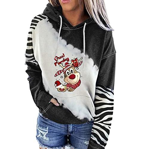 Kookmean Ropa de otoño para mujer, camisas de Navidad con estampado de renos, manga larga, suéter de empalme, sudaderas de moda, Negro, M